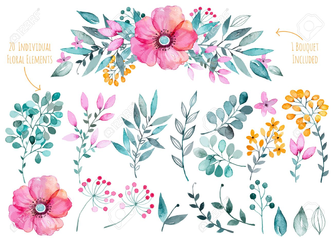 Vector floral set.Colorful purple floral collection with leaves..