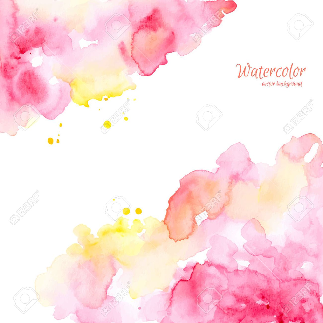 Abstract pink yellow hand drawn watercolor background, vector illustration. Watercolor composition for scrapbook elements. Watercolor shapes on white background. - 42939043