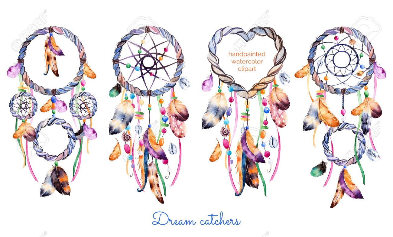 Hand drawn illustration of 4 dreamcatchershnic with native hand drawn illustration of 4 dreamcatchershnic with native american indians watercolor illustration dreamcatcher kristyandbryce Choice Image