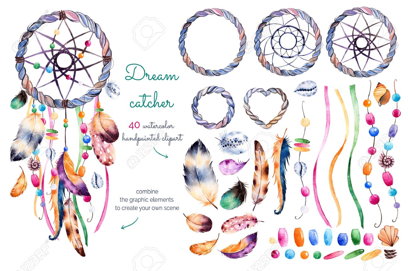 Aquarell Von Hand Bemalt Sammlung Mit 40 Elementen: Federn, Bänder ...