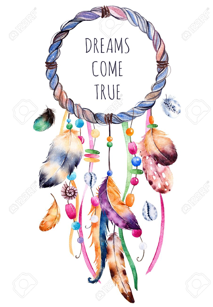 Hand drawn illustration of dreamcatcher.Ethnic with native American Indian watercolor illustration dreamcatcher.Boho style.Template card.Parfect for greeting cards, print, diy projects, blogs.thanks card - 52383227