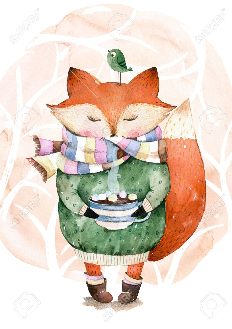 Cute little fox just like to drink hot coffee.Watercolor illustration.Fox and bird in watercolor.Perfect for cristmas and happy new year card, greeting card, website, pattern, tea time, invaitation, baby cards - 54578278
