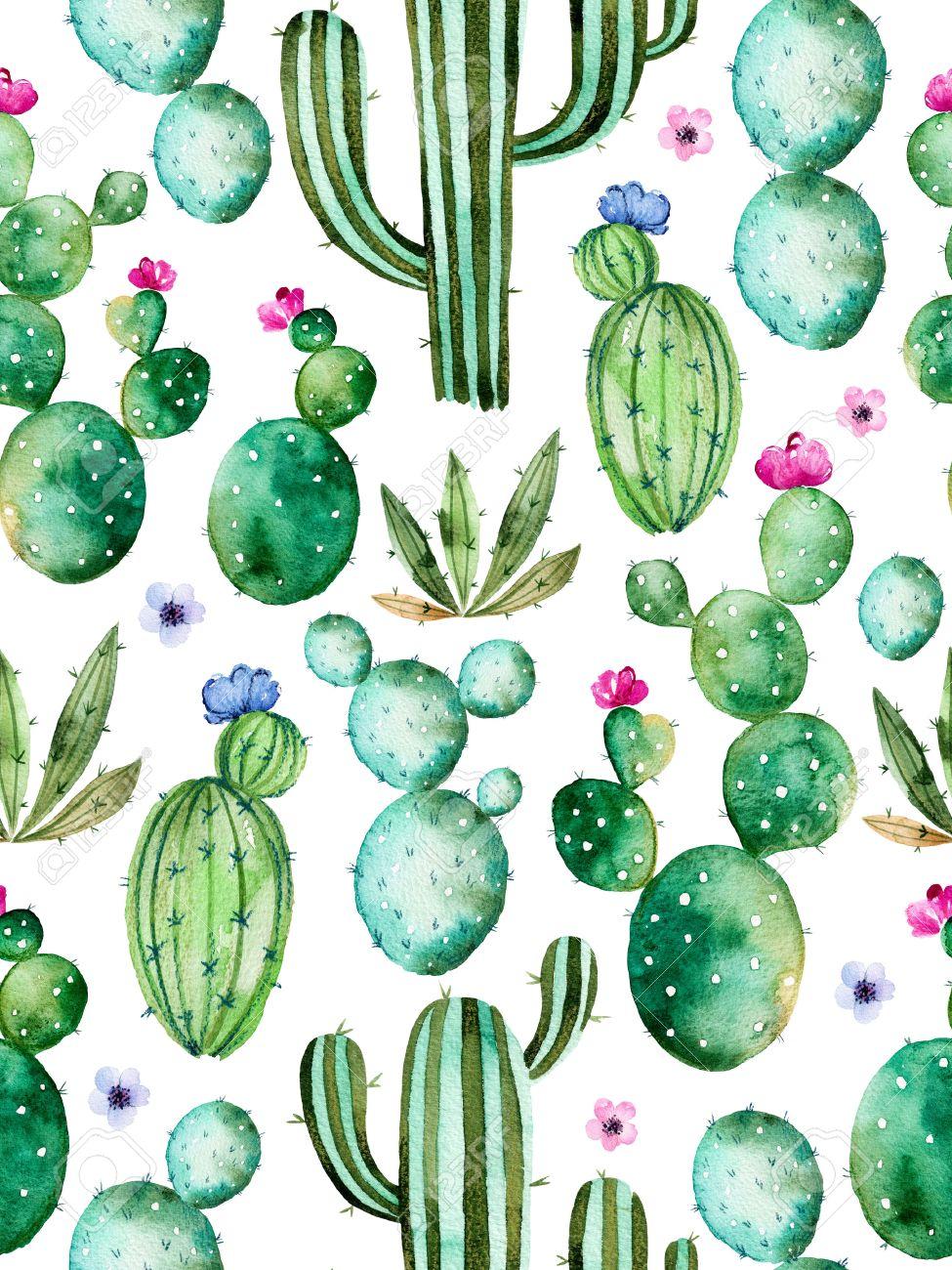 Seamless Avec Peints à La Main Aquarelle Plantes De Cactus De Haute