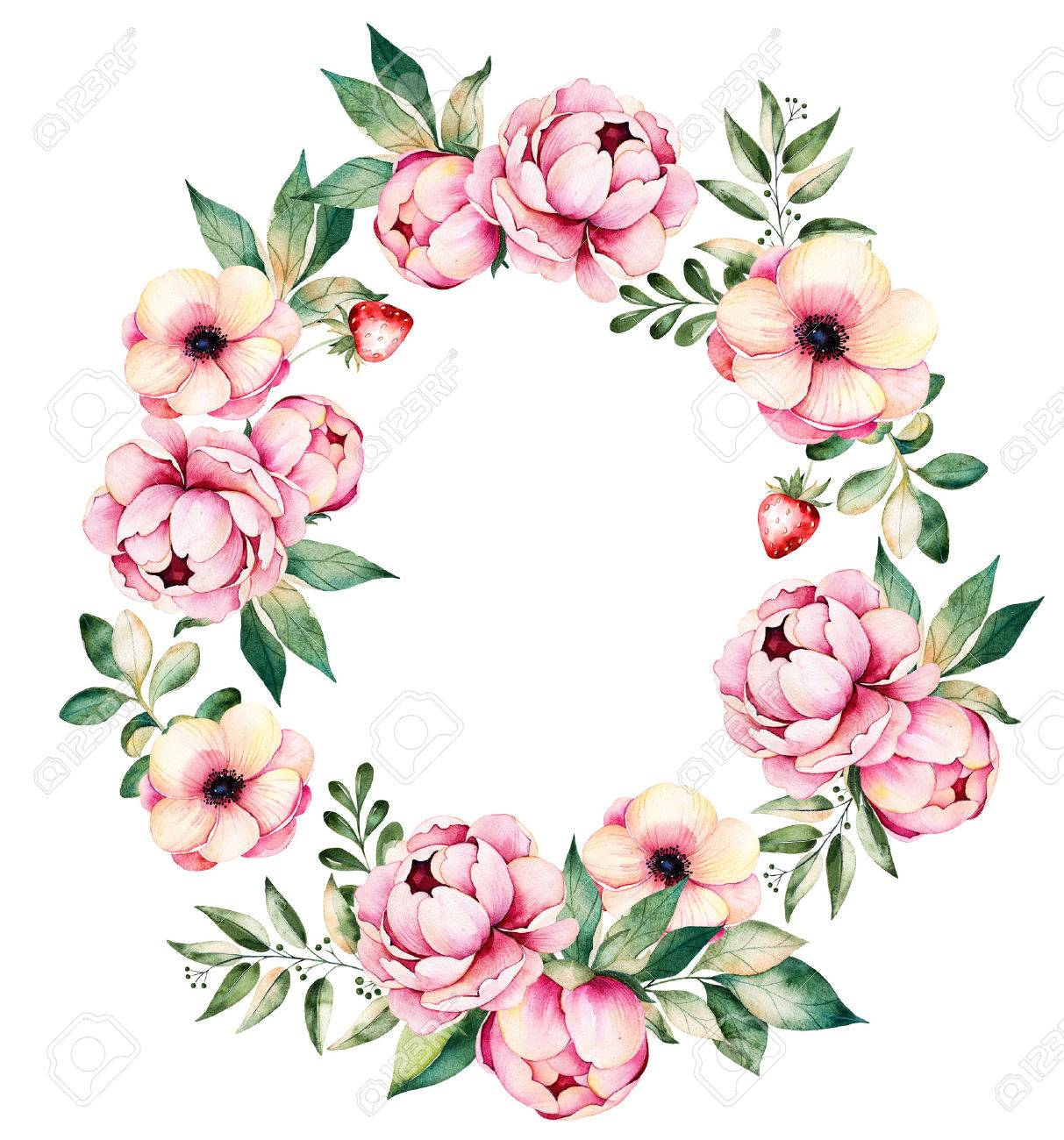 Colorful Floral Wreath With Peonies, Flowers, Leaves, Succulent ...