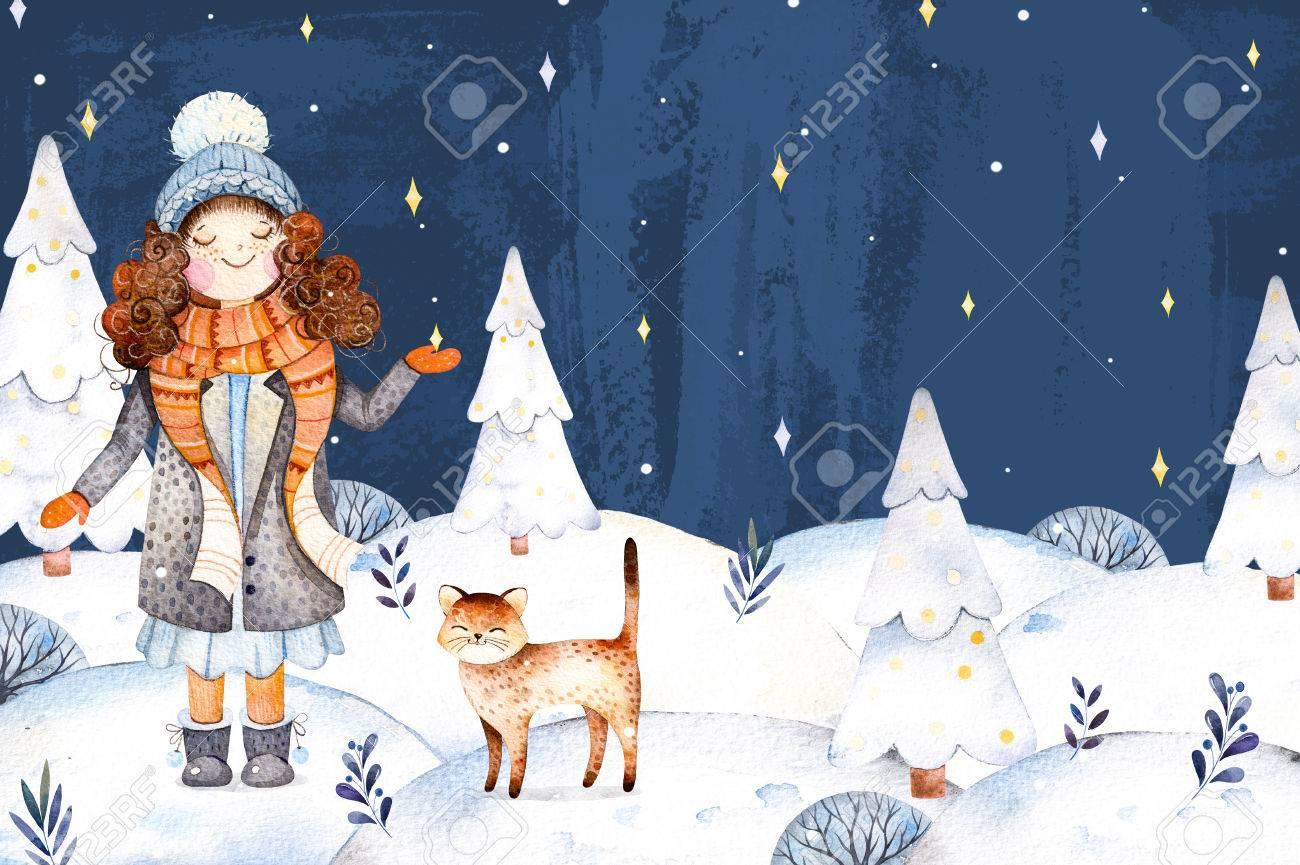 Weihnachten Und Neujahr Illustration Collection.Watercolor Mit Einem ...