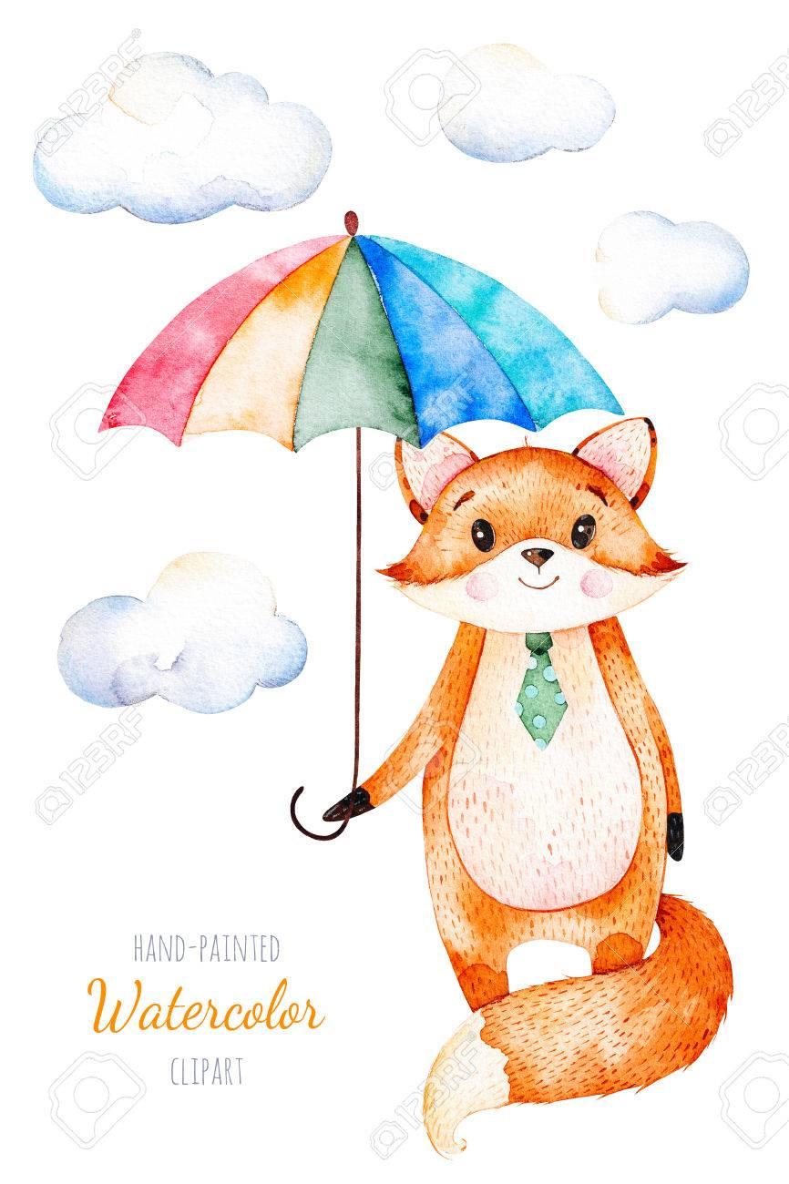 水彩イラスト色とりどりの傘とふわふわ雲のかわいいキツネユニークな