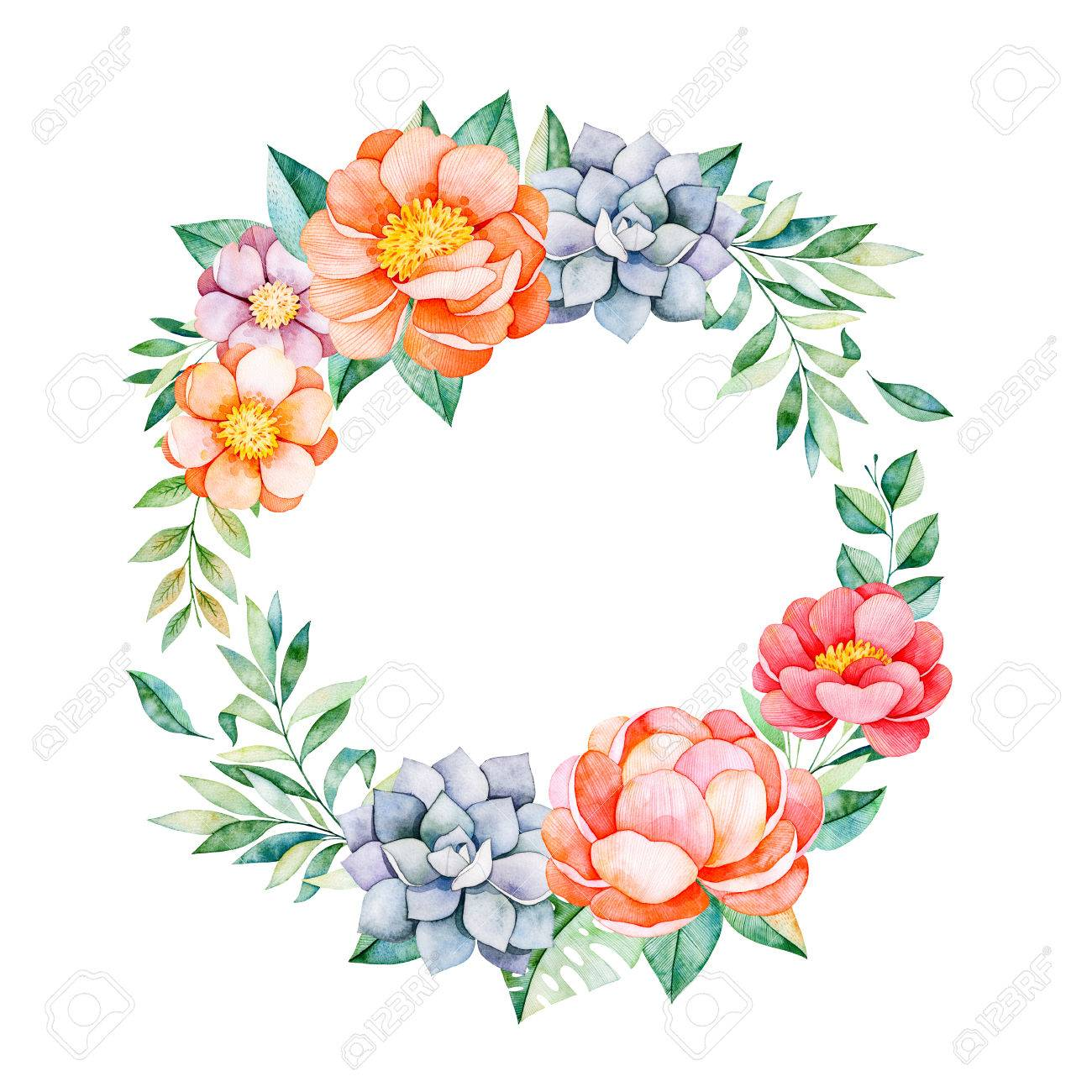 Lovely Floral Pastel Wreath With Peony Flowers Leaves Branches