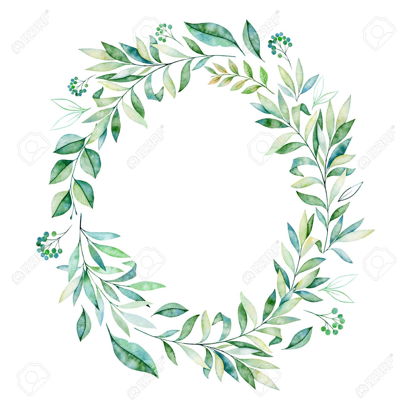 watercolor leaves branch wreath wteath with greens branch stock