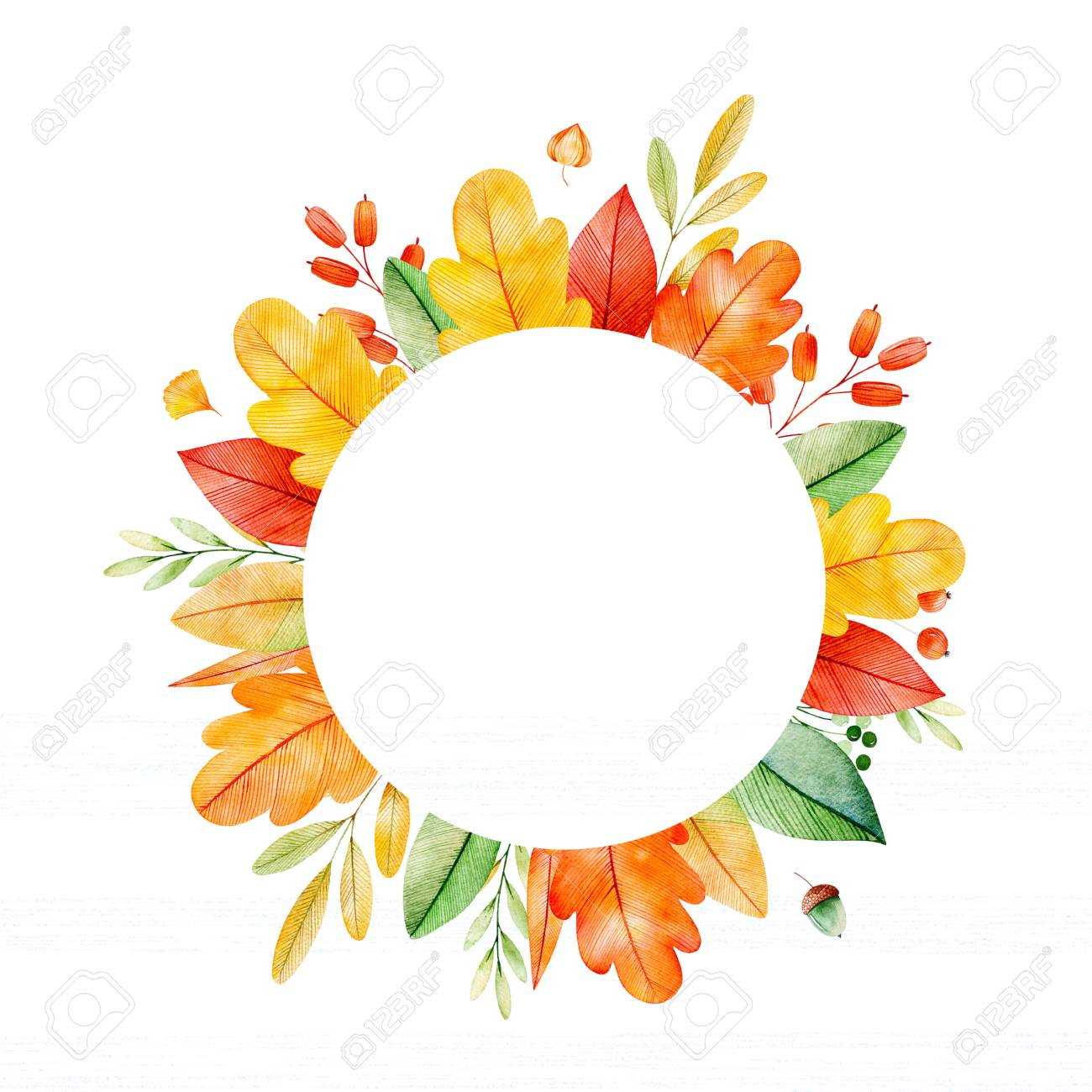 Great Colorful Autumn Round Frame With Bright Fall Leaves, Branches And Berries.  My Lovely Autumn