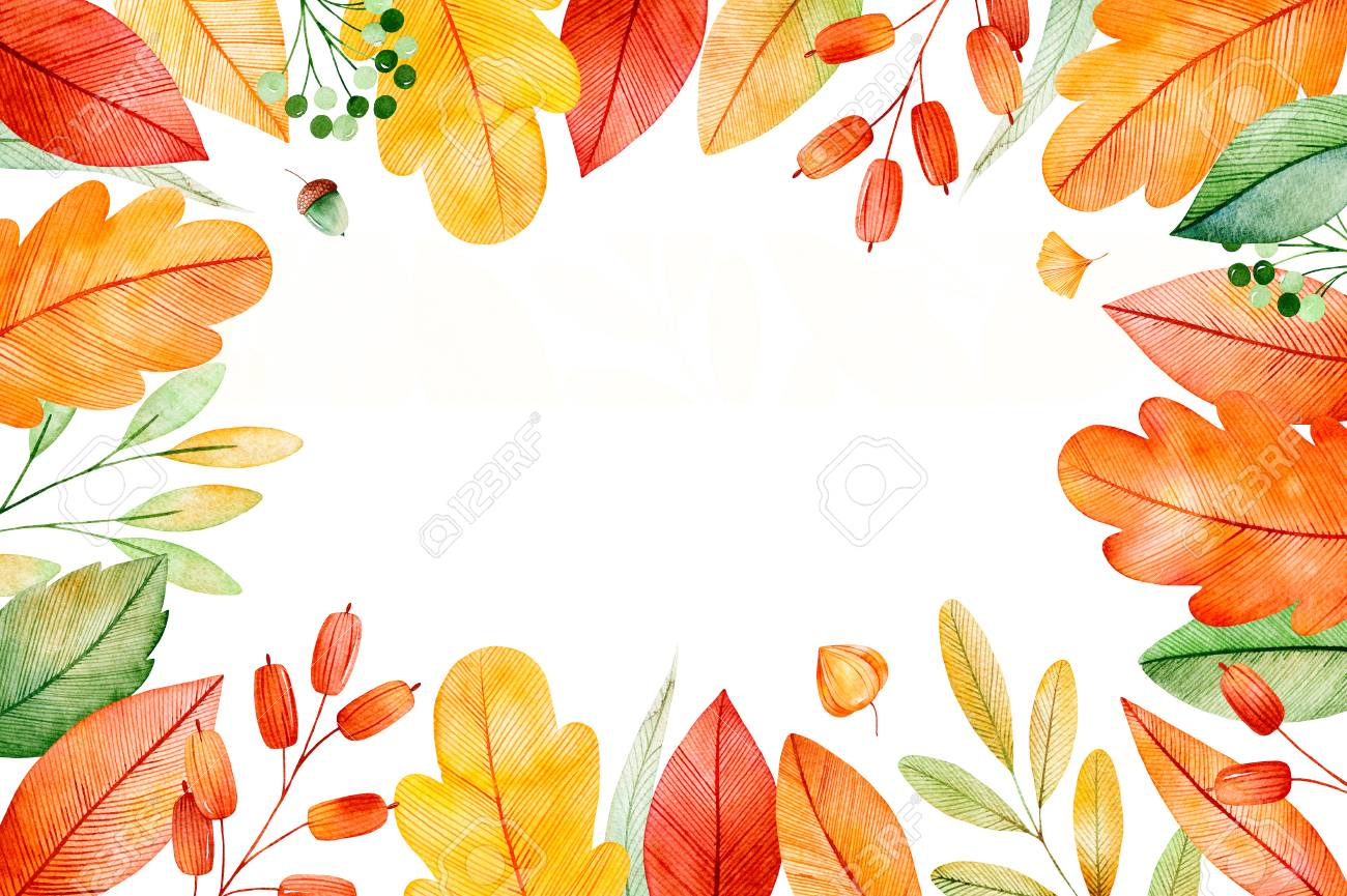 Colorful Autumn Frame With Bright Fall Leaves. My Lovely Autumn  Collection.Perfect For Wedding