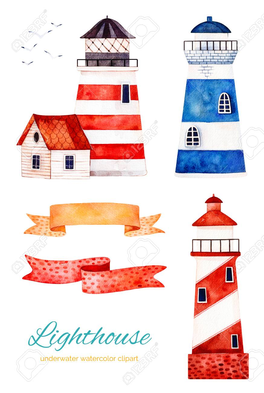 Nautical Watercolor Set. Ocean Creature With Lighthouse And Ribbons ...