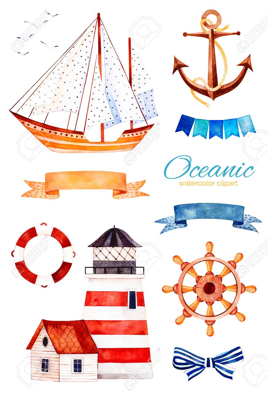 Nautical Watercolor Set. Ocean Creature With Anchor, Lighthouse ...
