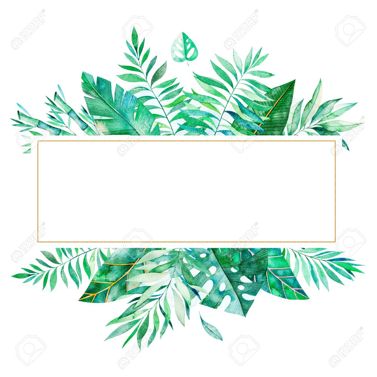 Colorful Floral Frame With Green Tropical Leaves Tropical Forest Stock Photo Picture And Royalty Free Image Image 96444261 Forest floor the forest floor receives less than 2% of the sunlight and consequently when tropical forests are cut and burned, heavy rains can quickly wash the released nutrients away, leaving the. colorful floral frame with green tropical leaves tropical forest