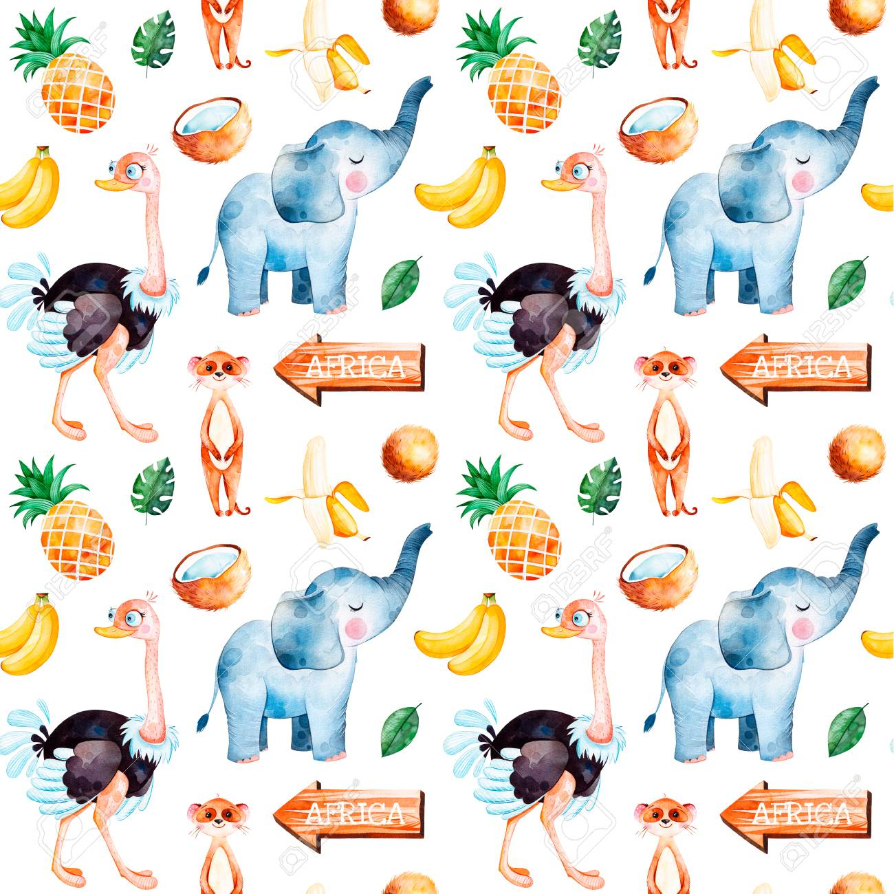 Africa Watercolor Seamless Pattern Safari Collection With Cute