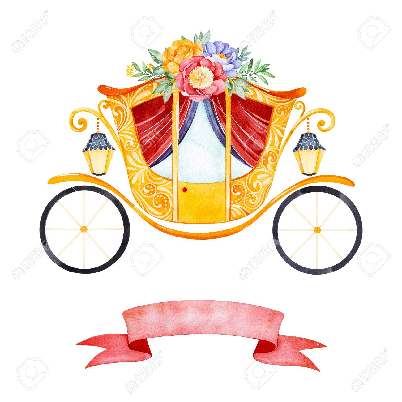 Romantic Illustration With Princess Carriage Decorated Beautiful