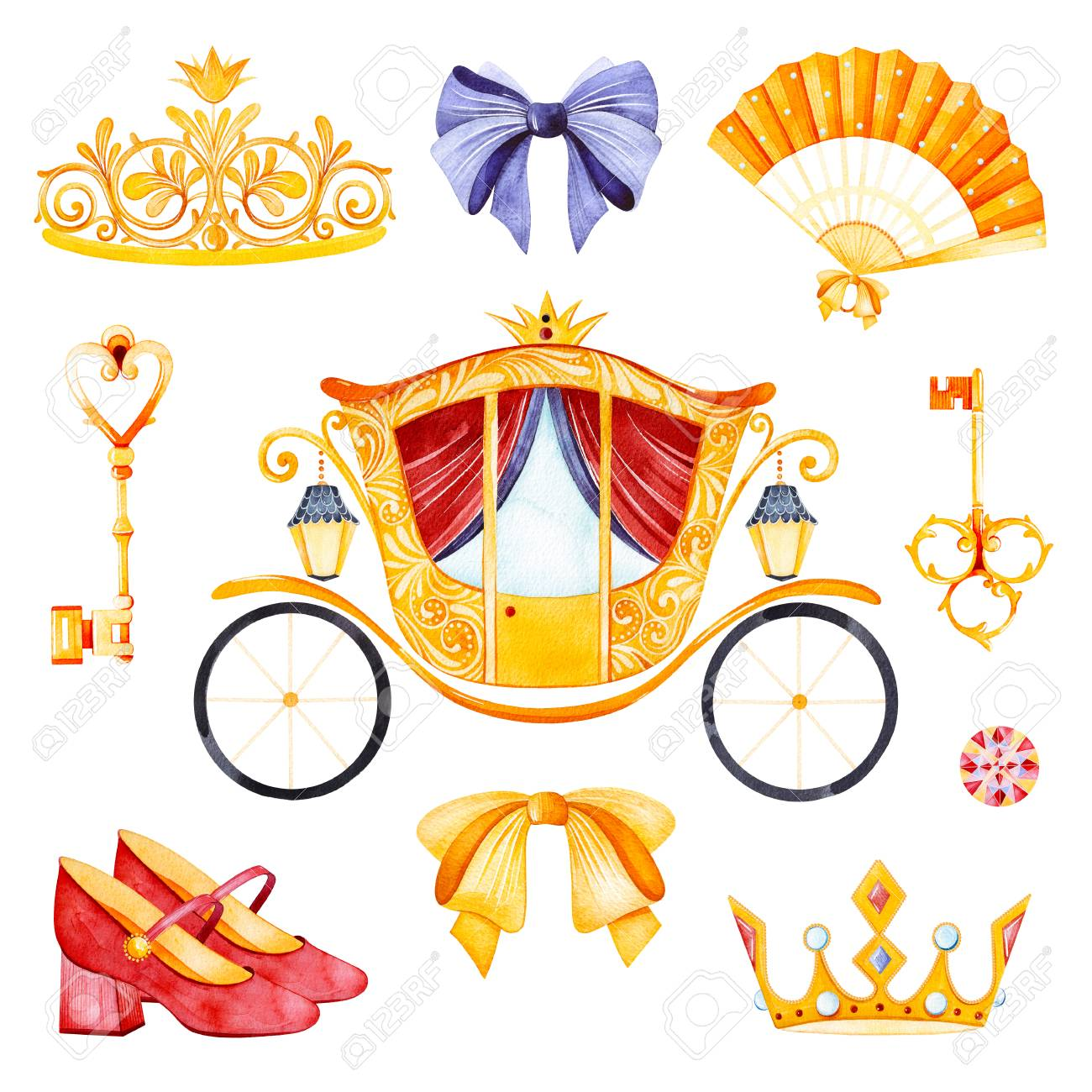 romantic set with princess carriage crown golden keys colorful rh 123rf com Wedding Shower Clip Art Bridal Shower Clip Art