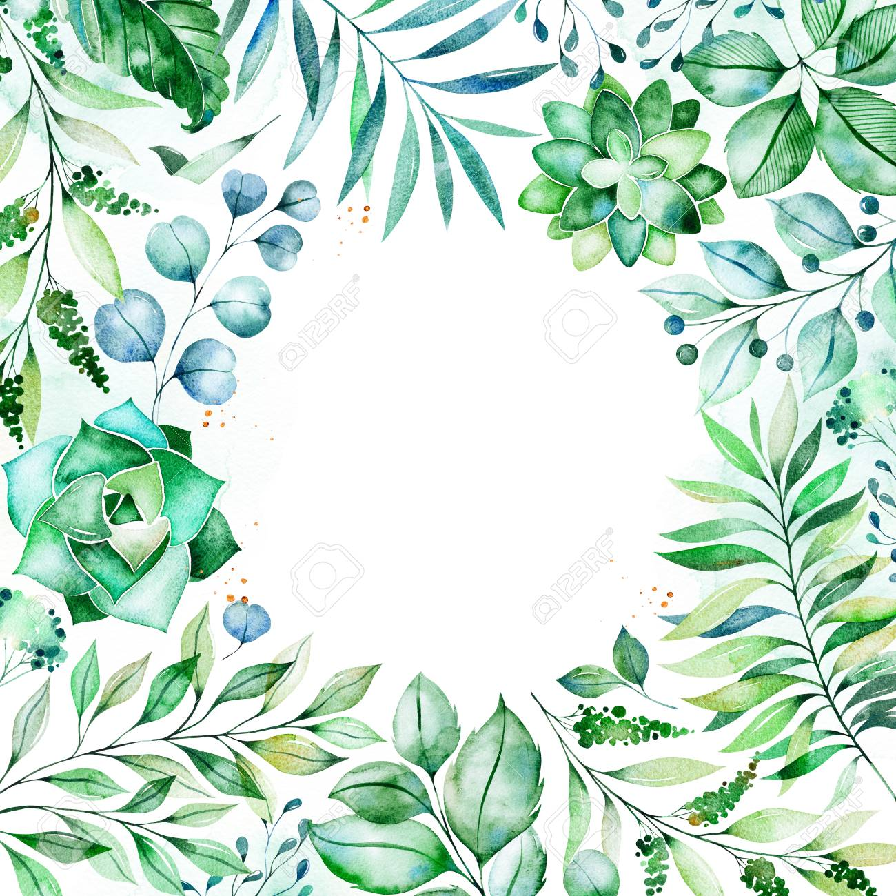 Watercolor Green Illustratione Made Greeting Card With Succulent