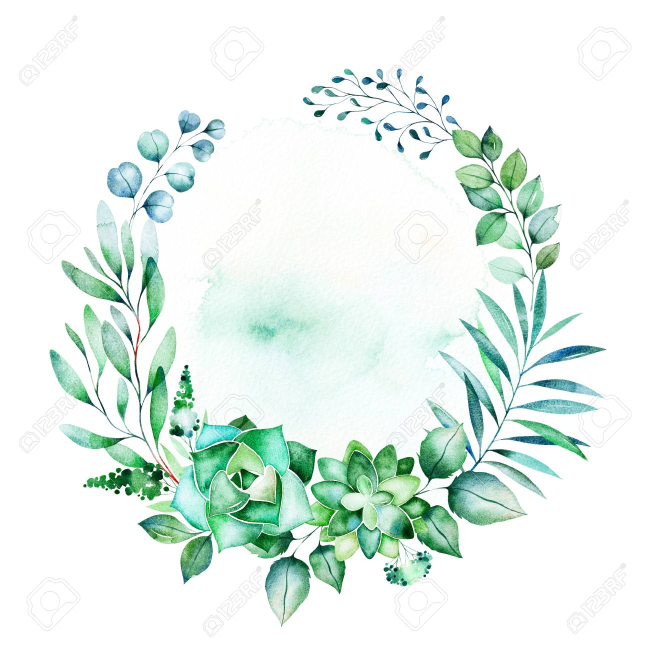 Watercolor Green Illustration Wreath With Succulent Plants Stock Photo Picture And Royalty Free Image Image 106078579