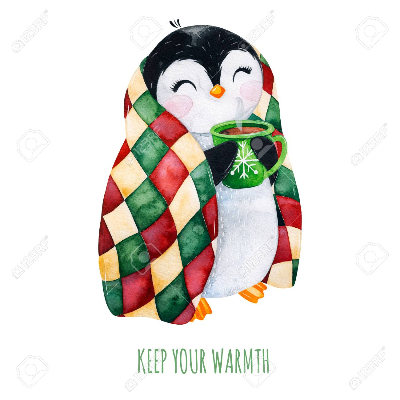 Cute watercolor penguin with a cup of hot drink in winter knitted plaid.Hand painted holiday illustration.Perfect for your Christmas and New Year project, invitations, greeting cards, wallpapers, blog etc - 118653059