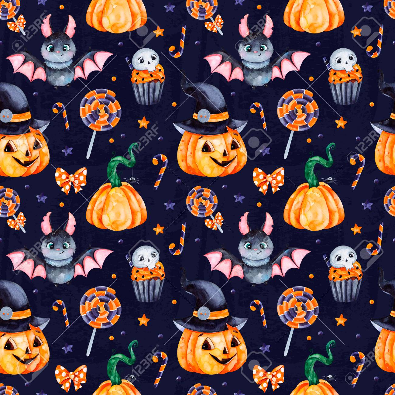 Cute watercolor Halloween seamless pattern. Dark Background with..