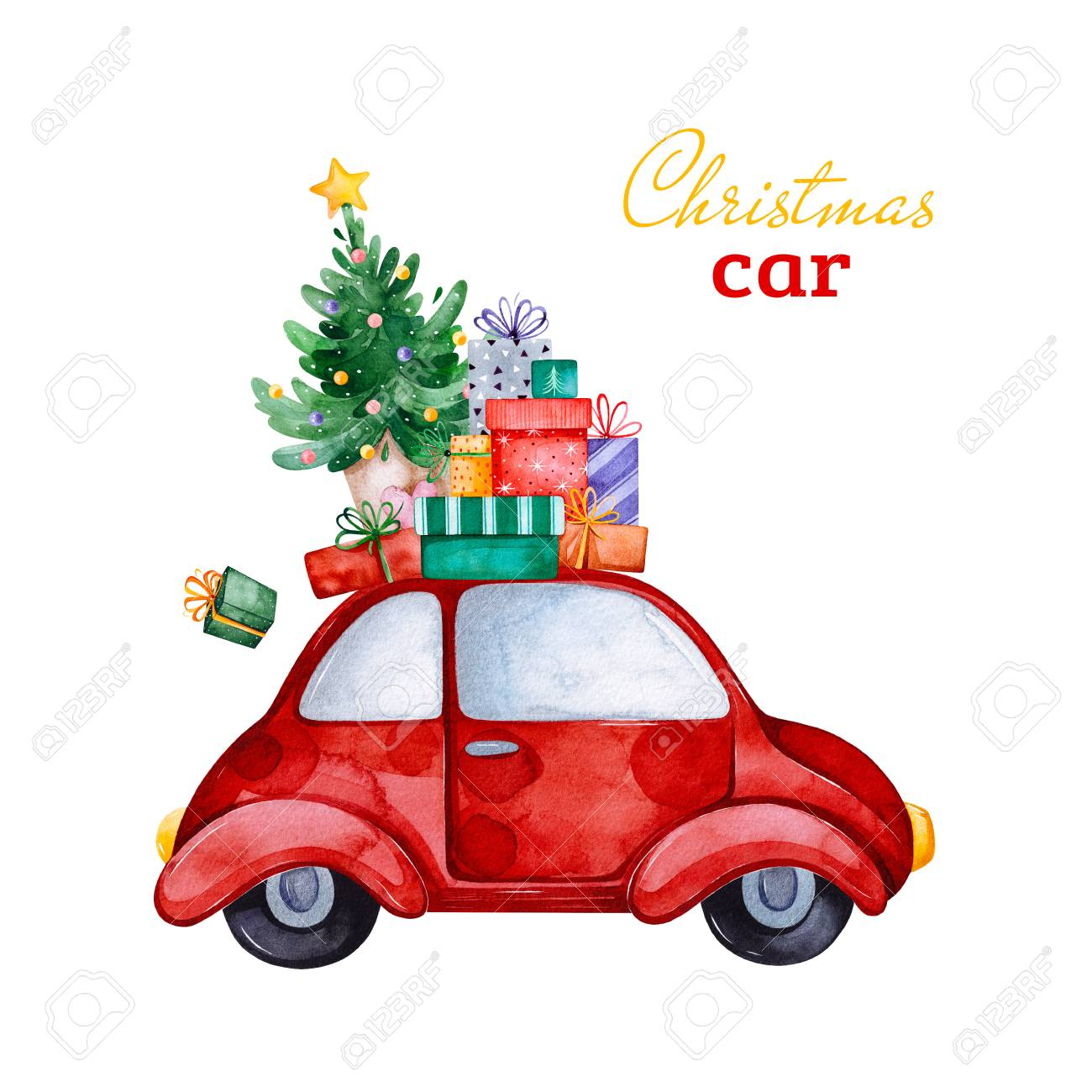 Christmas Abstract Retro Car With Christmas Tree Gifts And Other Stock Photo Picture And Royalty Free Image Image 118653070