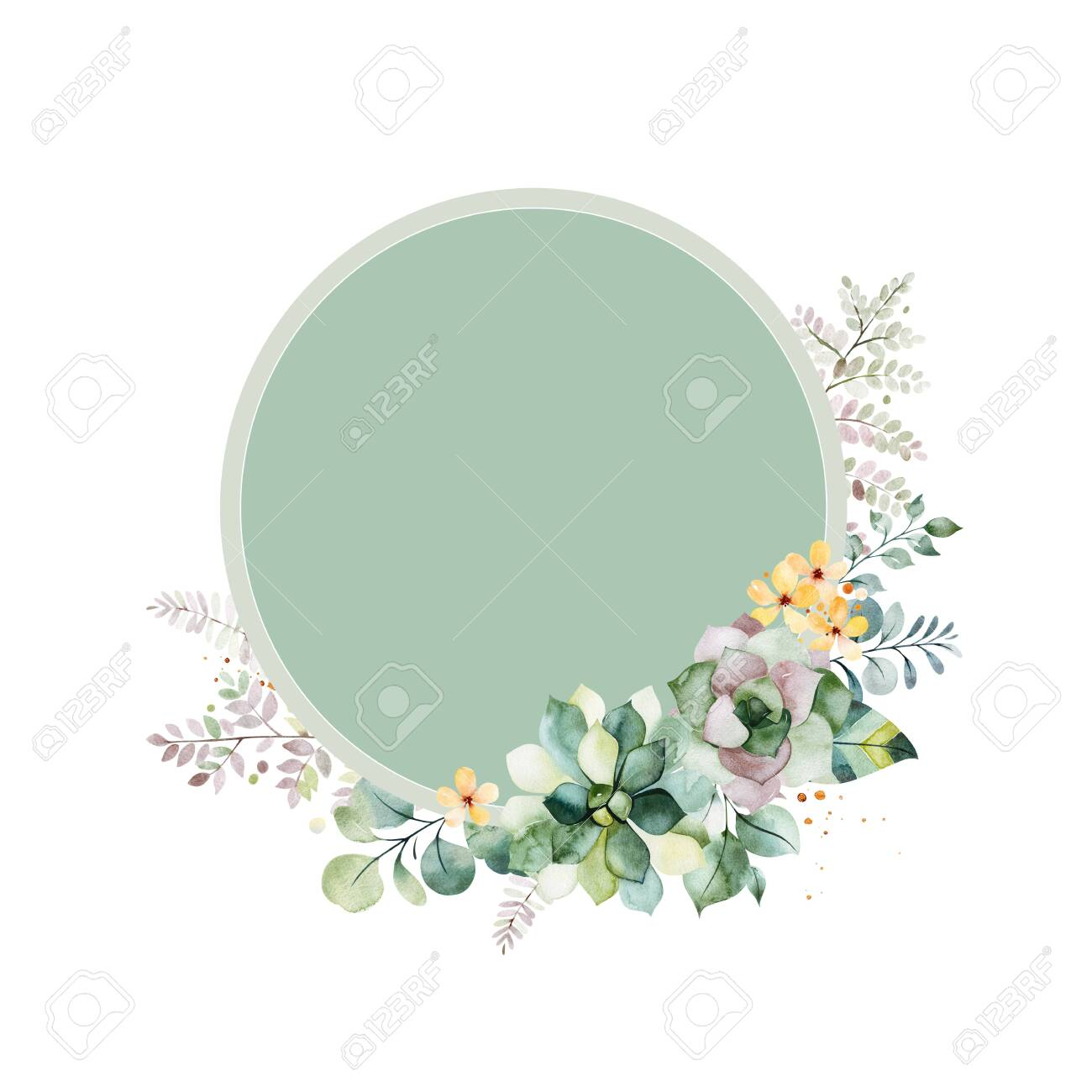 watercolor green illustration pre made greeting card foliage