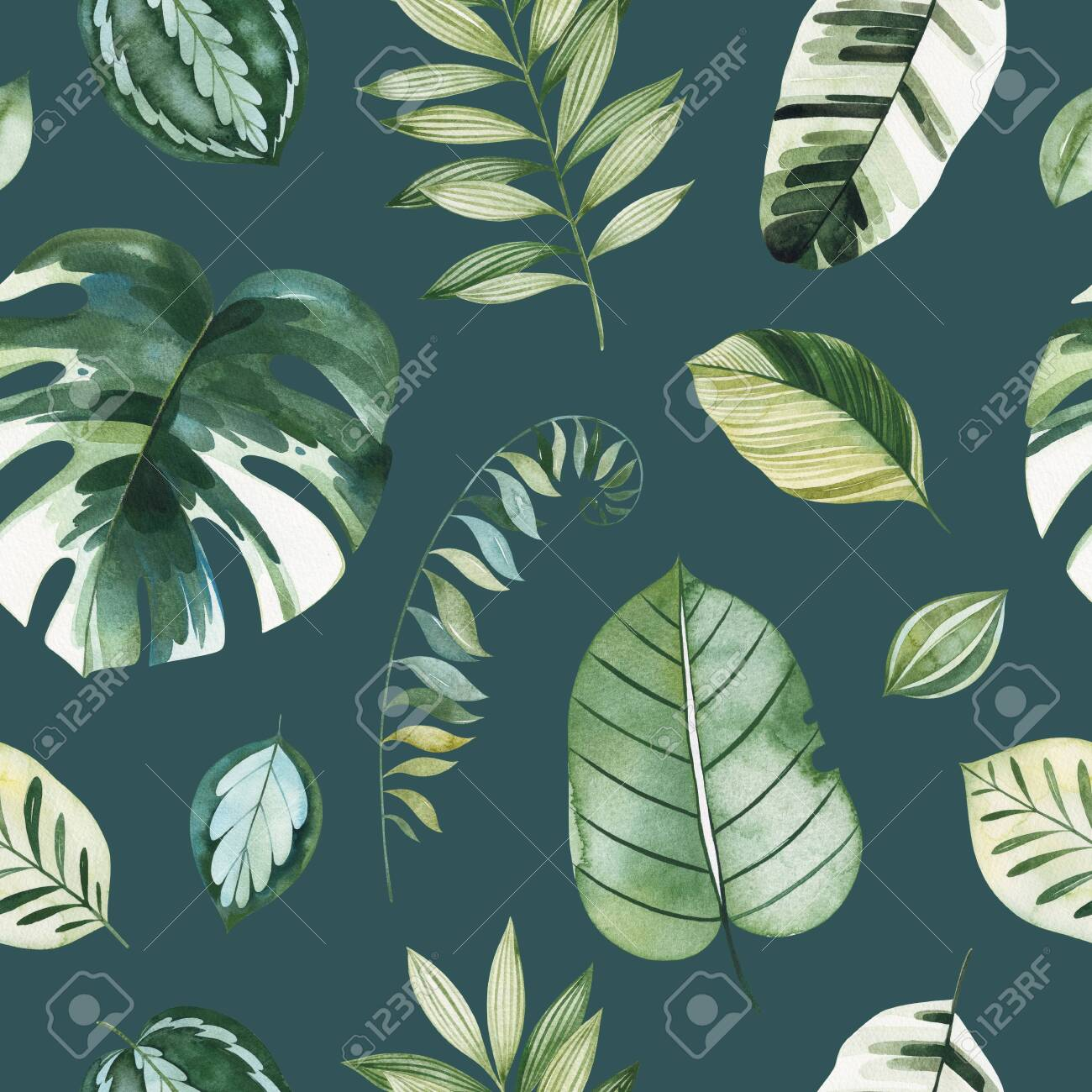 Tropical Watercolor Seamless Texture Dark Background With Green Leaves Branches Palm Leaf Perfect For Wedding Wallpaper Print Packaging And Cover Design And Your Unique Creation Stock Photo Picture And Royalty Free Image Image 134837158