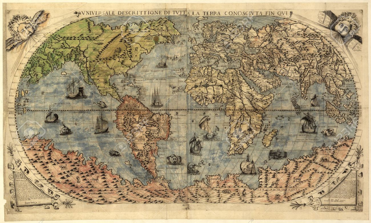 Ancient Map Of World Stock Photo, Picture And Royalty Free Image ...
