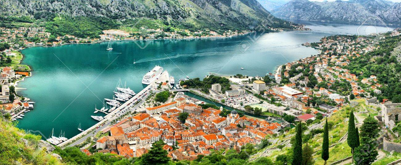 Panoramic view of Kotor bay (Boka Kotorska) and Kotor city, Montenegro. HDR filter Stock Photo - 8467223