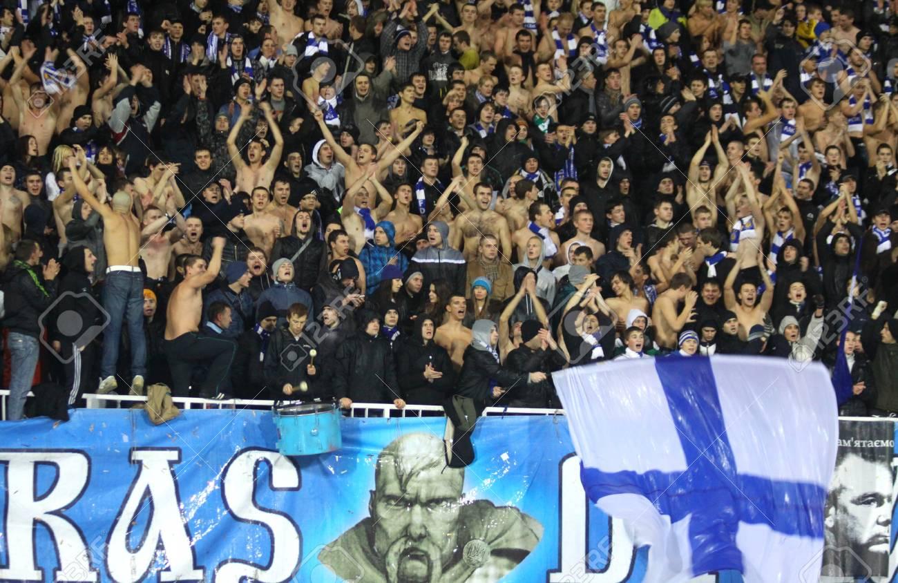 KYIV, UKRAINE - NOVEMBER 4,2010: FC Dynamo Kyiv team supporters show his support during UEFA Europe League game against AZ Alkmaar on November 4, 2010 in Kyiv, Ukraine Stock Photo - 8770170