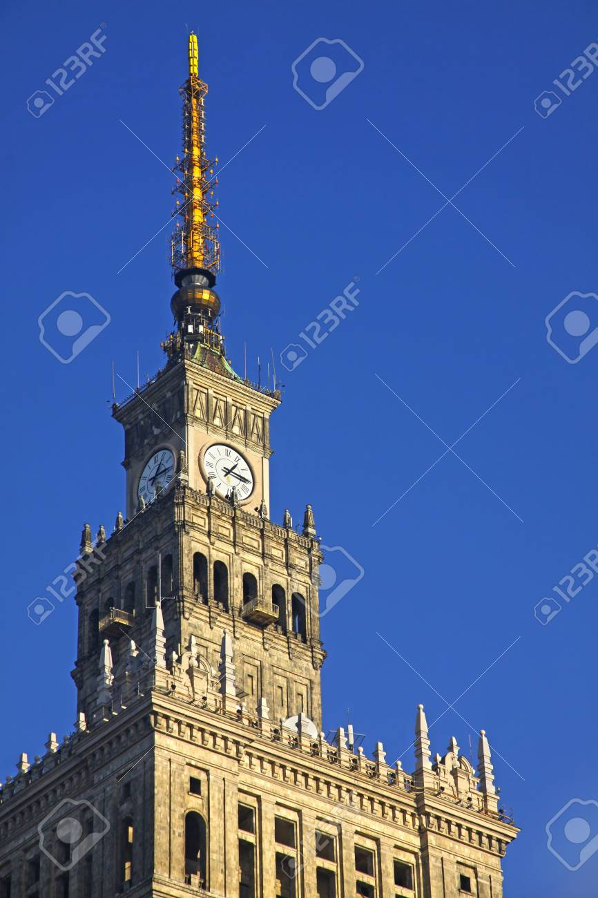 Fragment of tower of Palace of Culture and Science in Warsaw,