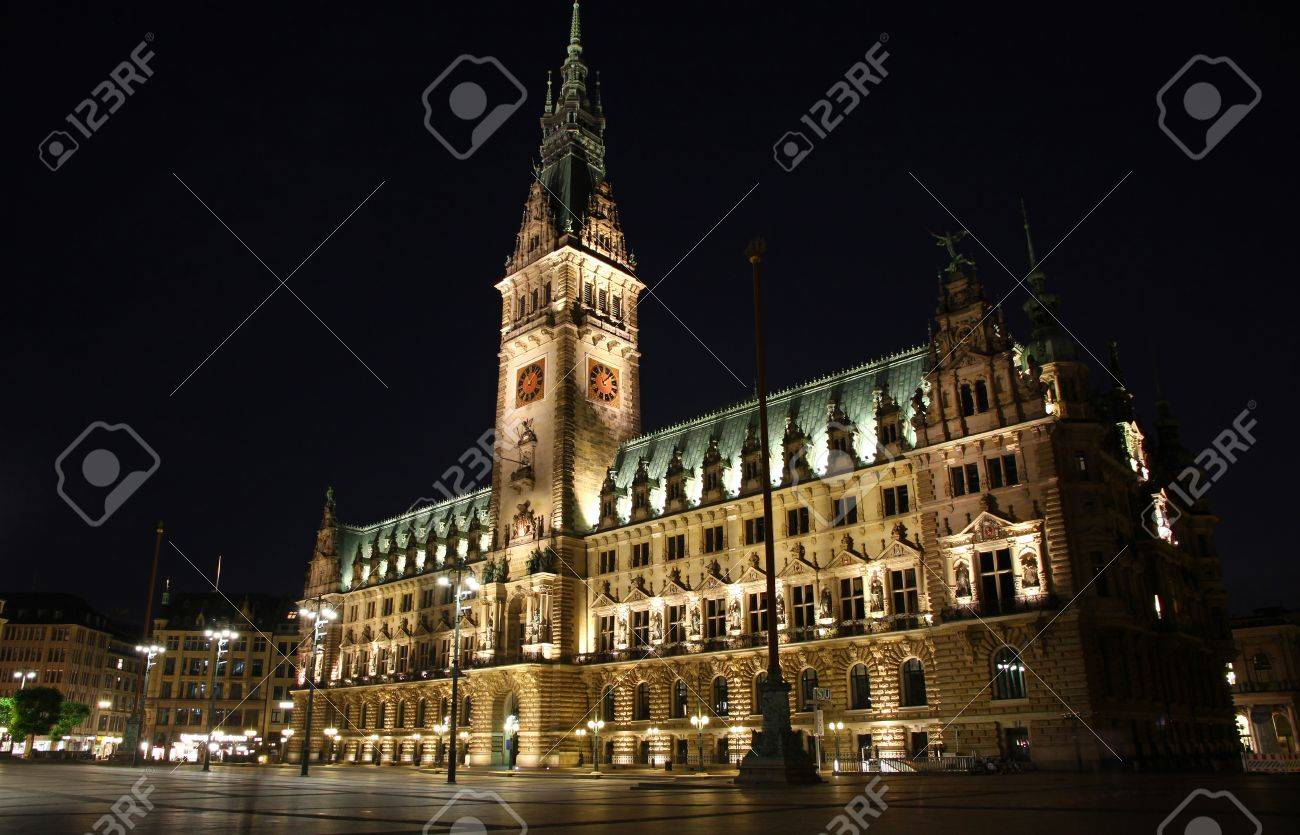 Stock photo hamburg germany riverside new - Building Of Hamburg Rathaus Town Hall At Night Germany Stock Photo 15635818
