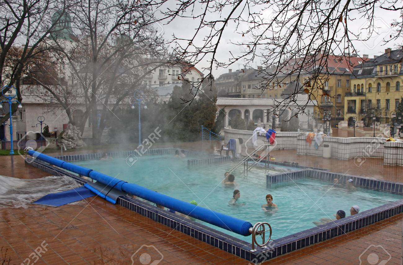 Banos Gellert.Budapest Hungary January 4 2012 People Have A Thermal Bath