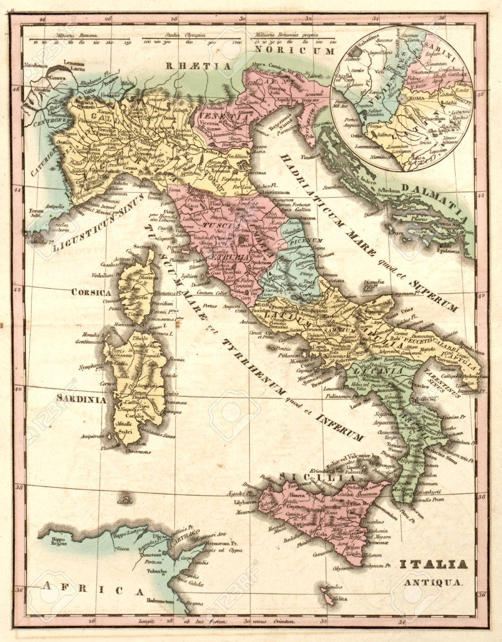 Ancient Map Of Italy At The Time Of The Roman Empire Italia Stock