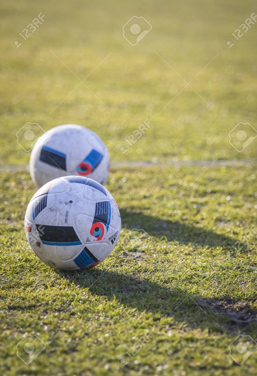 sale retailer pretty nice sale KYIV, UKRAINE - MARCH 28, 2016: Official match balls of the UEFA..