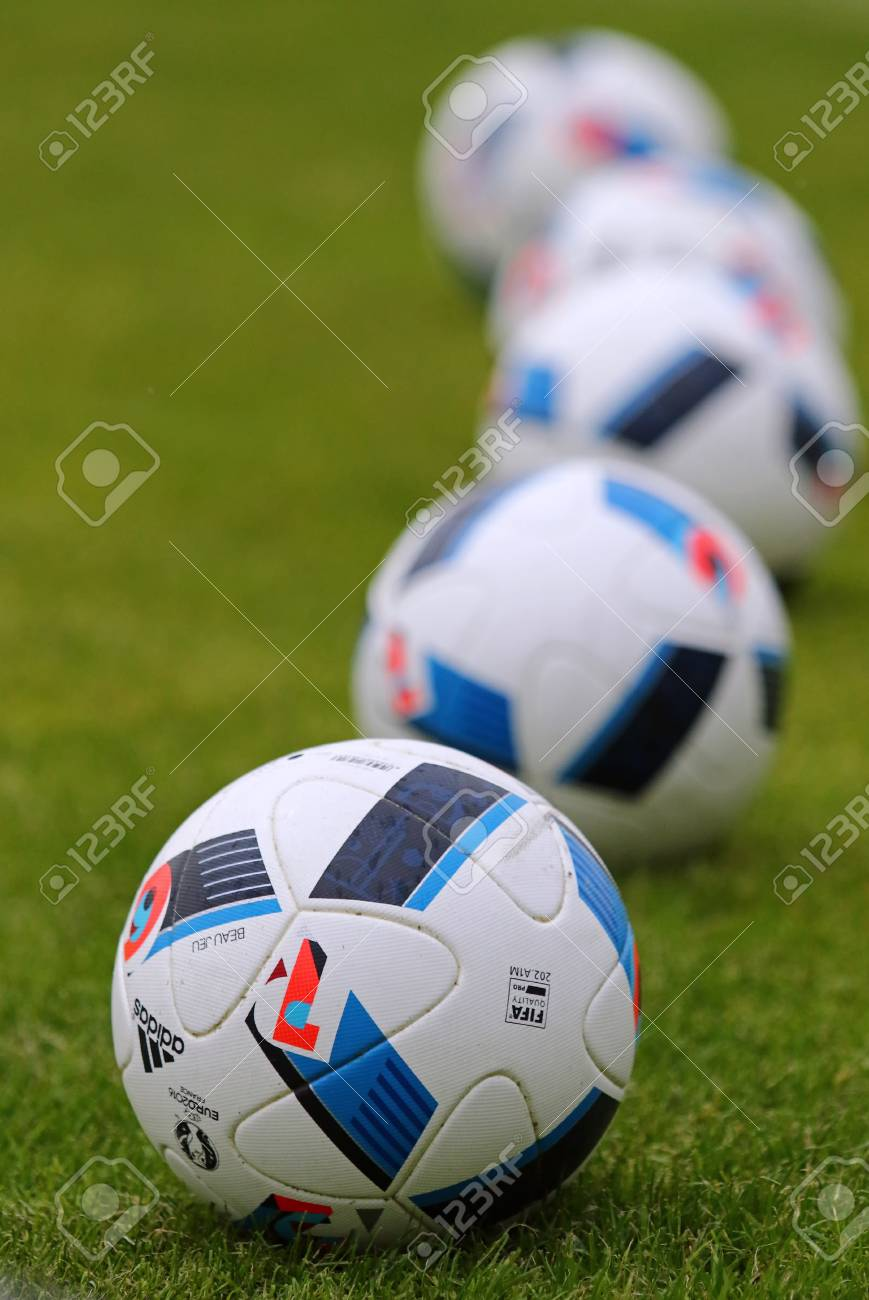 factory outlet reputable site super popular KYIV, UKRAINE - MAY 20, 2016: Official match balls of the UEFA..