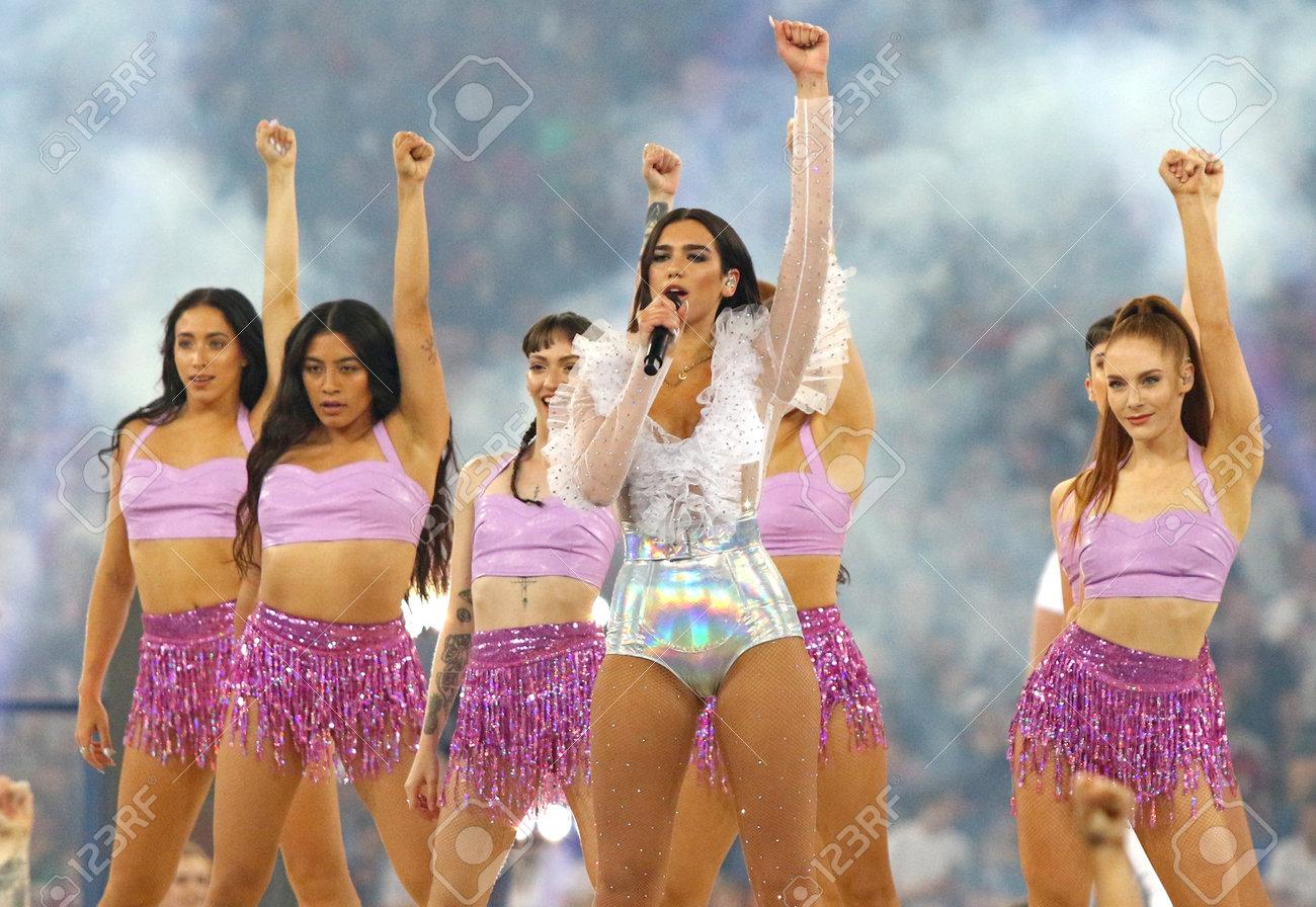 KYIV, UKRAINE - MAY 26, 2018: Dua Lipa performs on stage during
