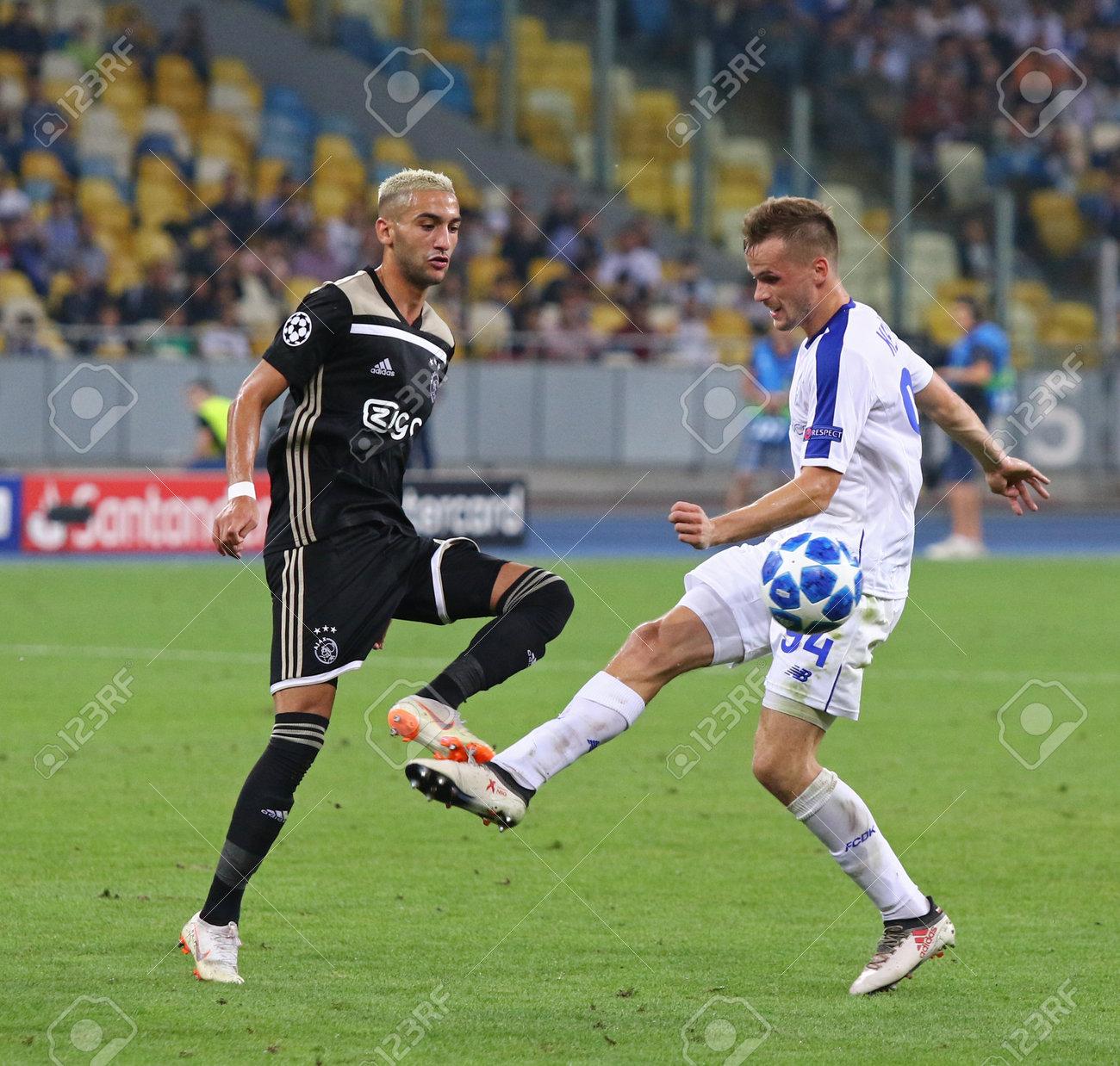 KYIV, UKRAINE - AUGUST 28, 2018: Hakim Ziyech of AFC Ajax (L)