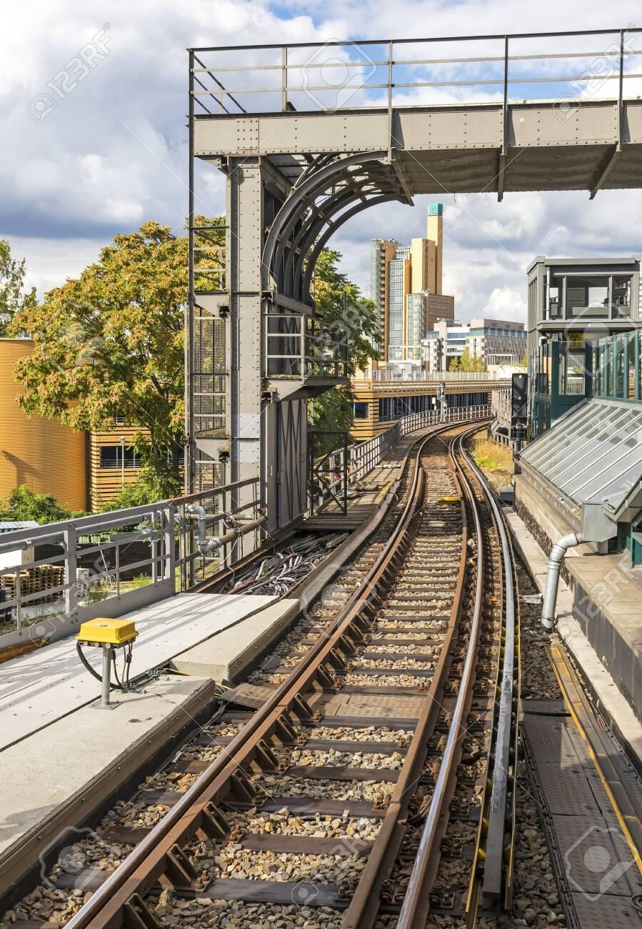 Railway track of Berlin metro, Germany