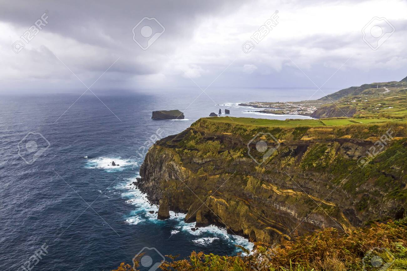 Atlantic Ocean coast of Sao Miguel Island, the largest island in the Portuguese archipelago of the Azores. - 123914020