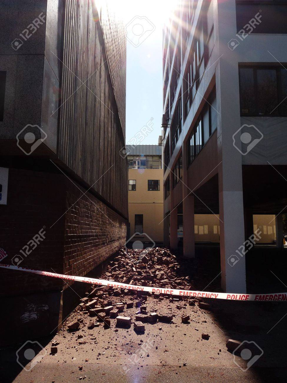 Christchurch, New Zealand, September 4 2010: Rubble in alley from Earthquake Stock Photo - 7738827