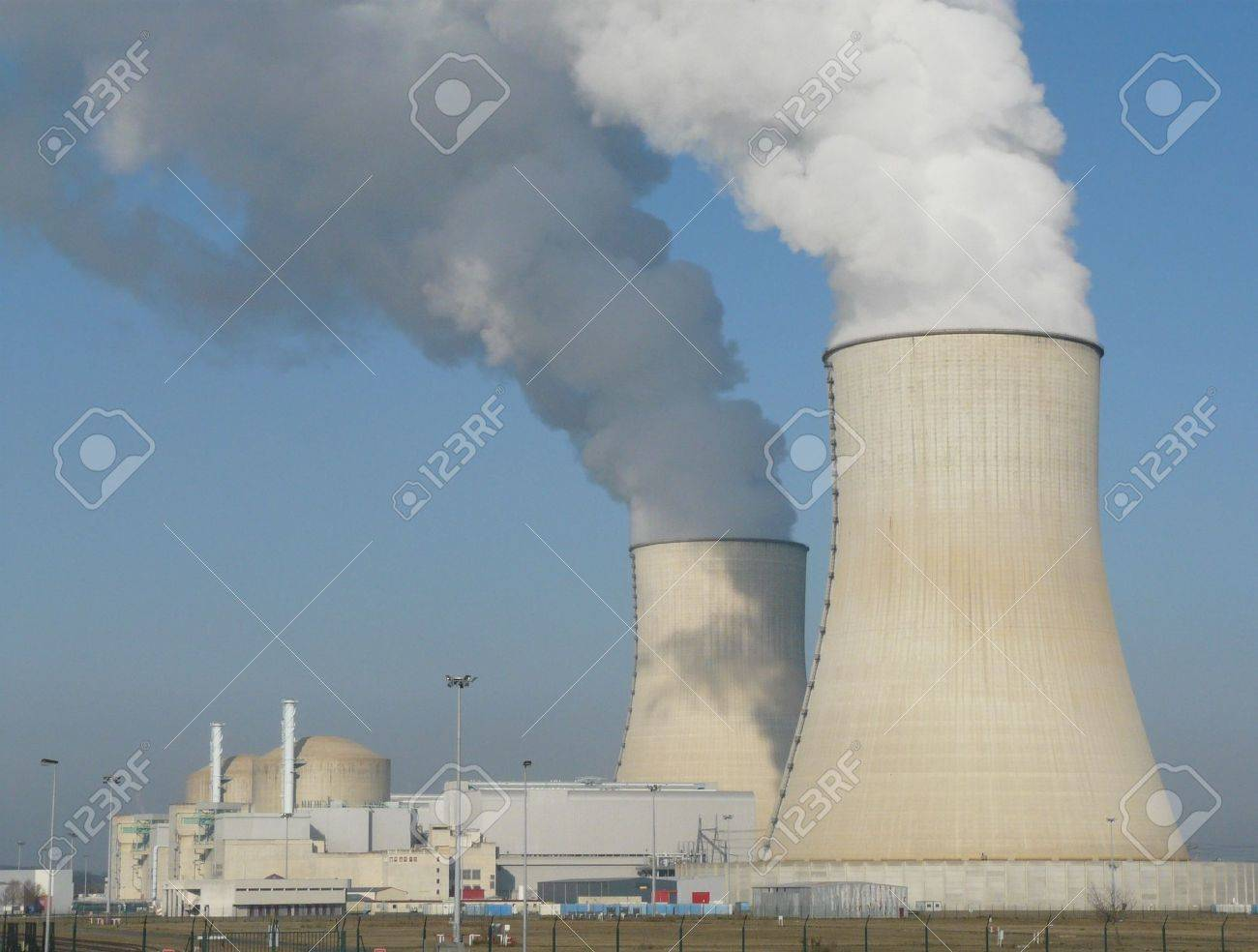 Nuclear power station cooling towers near Civaux in France Stock Photo - 4218135