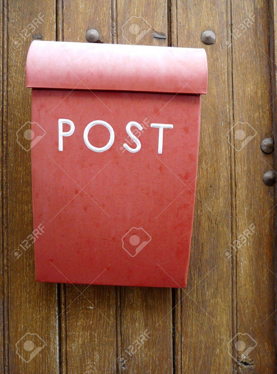Red mailbox or letterbox on a wooden door Stock Photo - 4459984 & Red Mailbox Or Letterbox On A Wooden Door Stock Photo Picture And ... Pezcame.Com