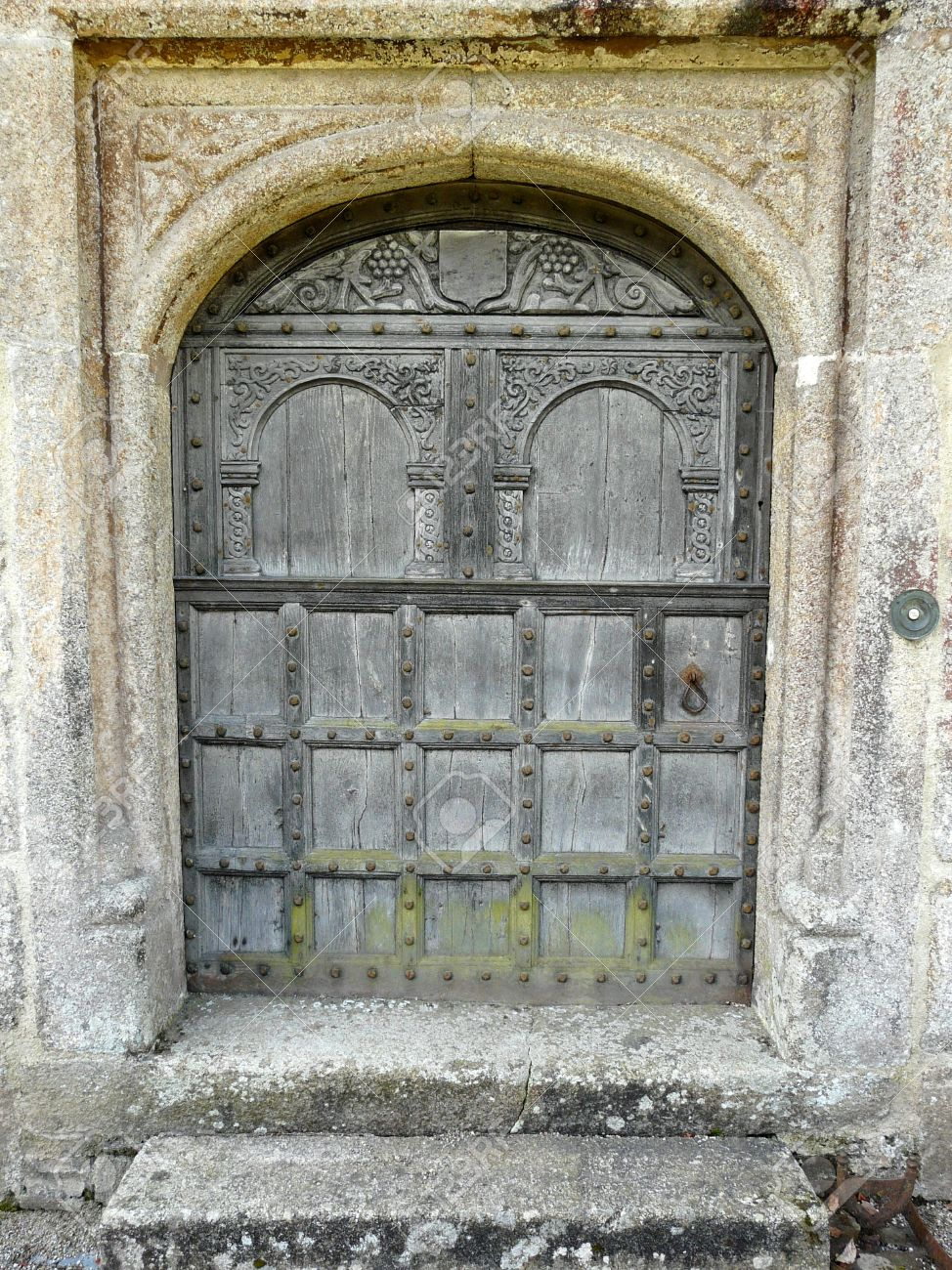 Bon Old Wooden Arched Door At Lanhydrock Castle Near Bodmin In Cornwall England  Stock Photo   5243953