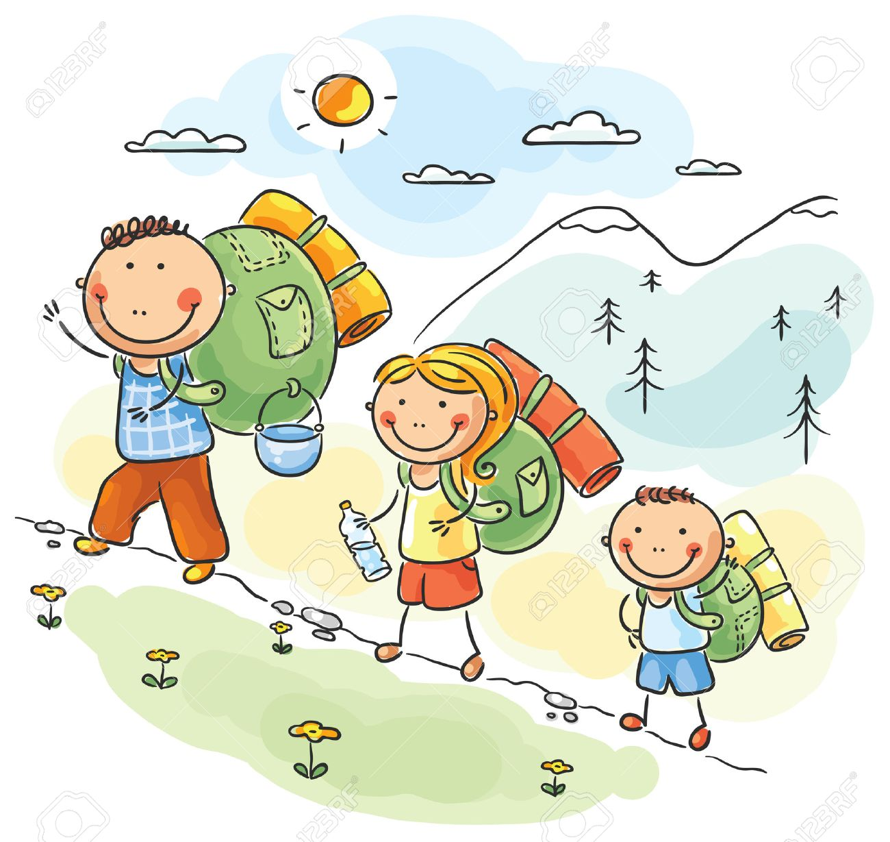Cartoon Family Hiking In The Mountains Stock Vector