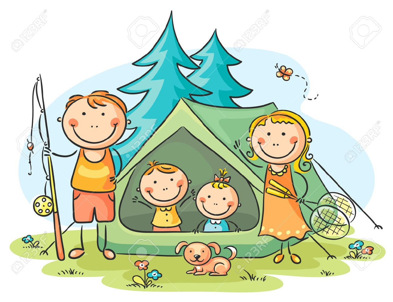 Family Camping In The Woods Stock Vector