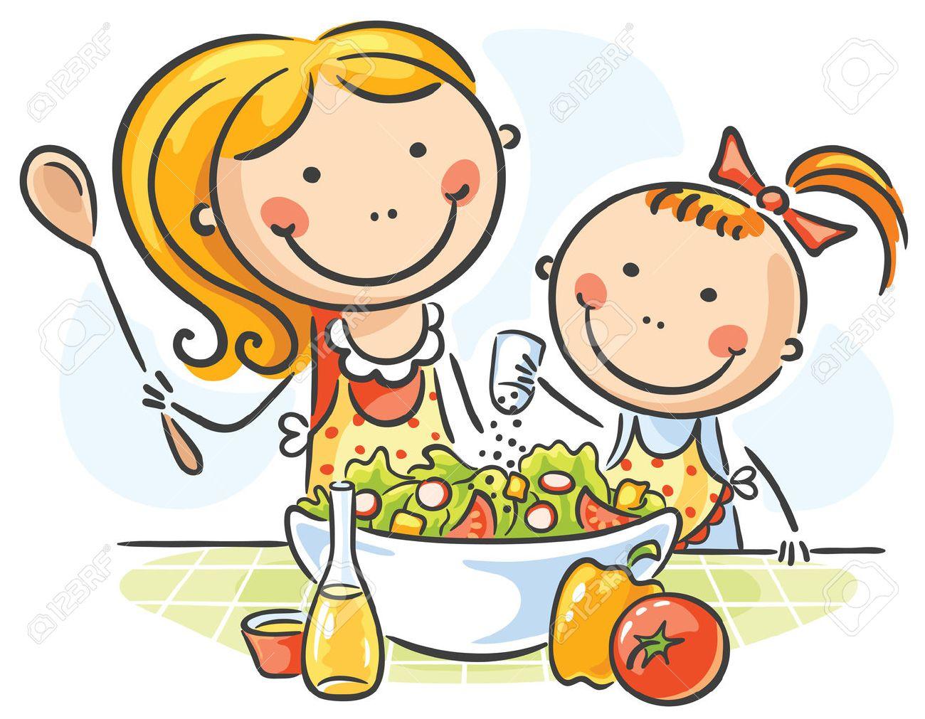 Madre E Hija Cocinar Juntos Ilustraciones Vectoriales, Clip Art ...