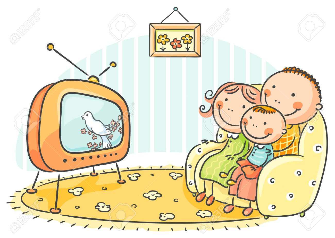 happy family watching tv together royalty free cliparts, vectors