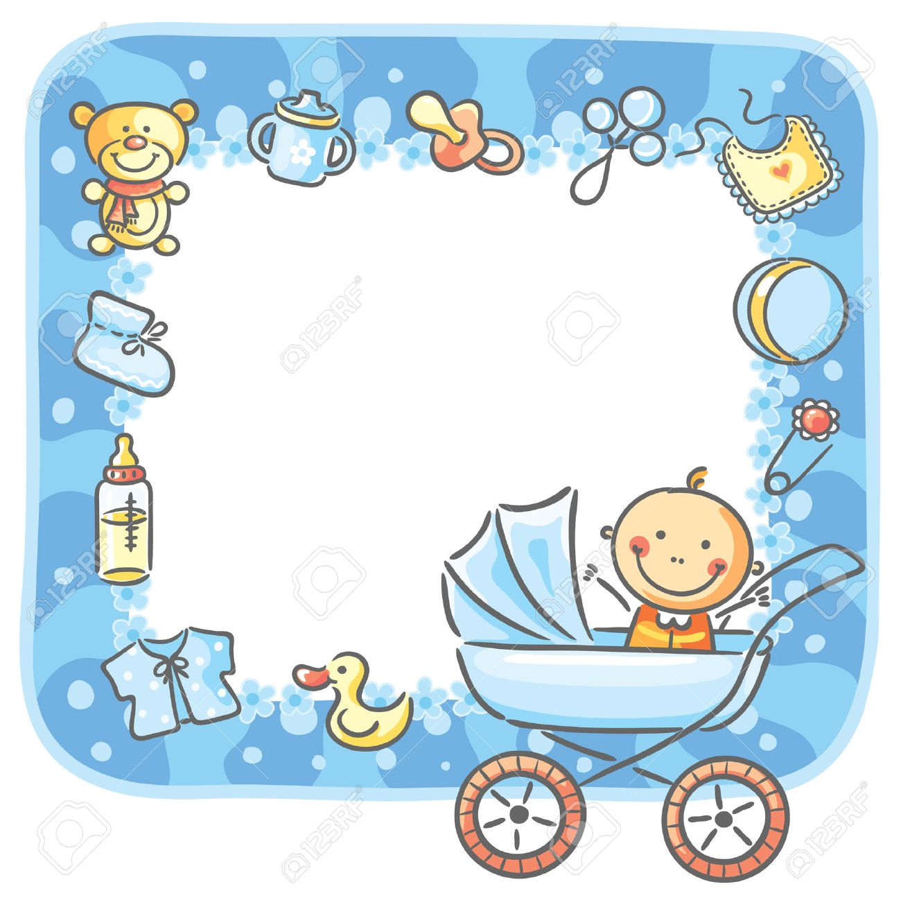 Frame With Baby Boy Things And Copy Space Stock Vector