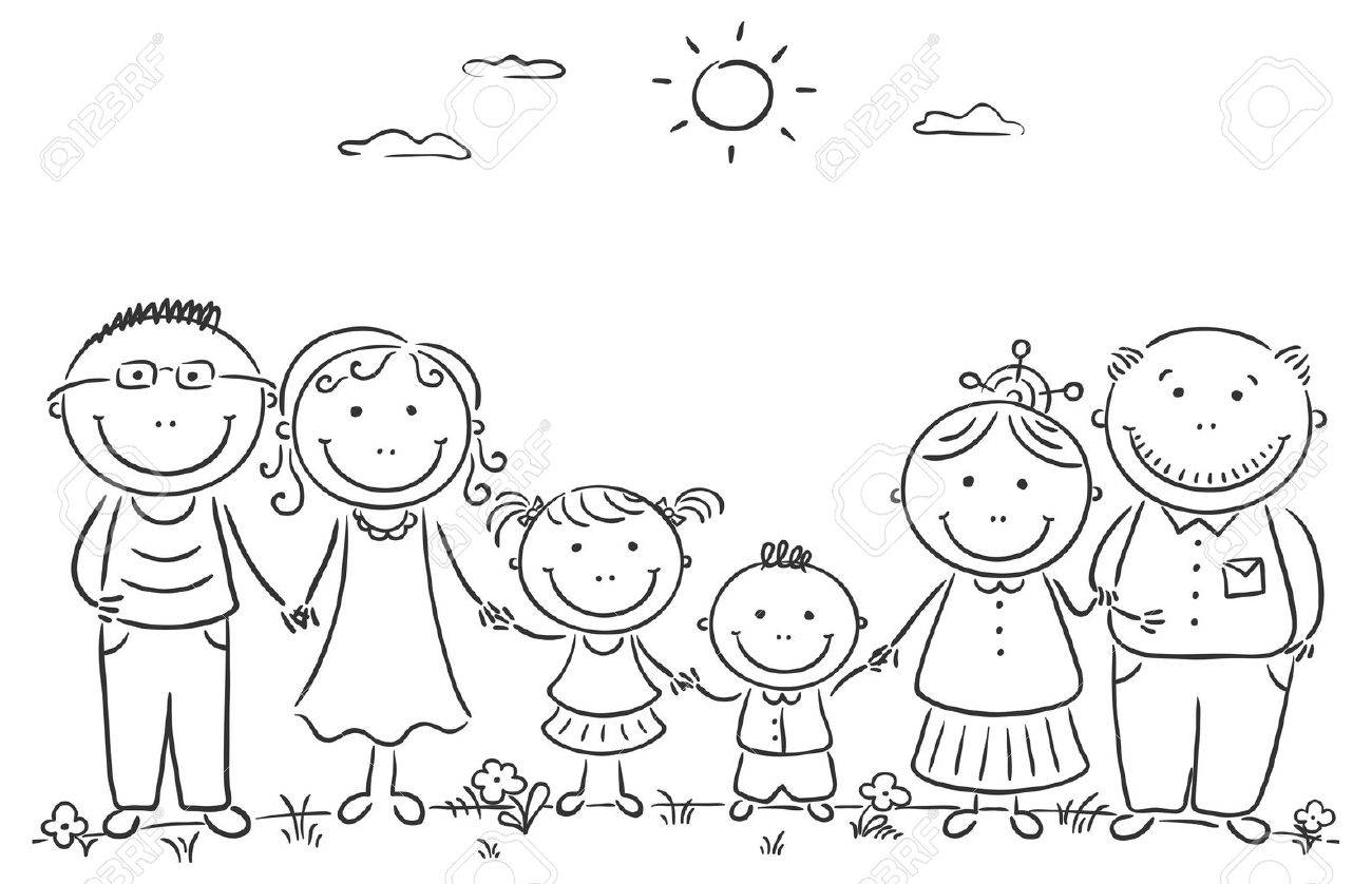 Cartoon Famile With Two Children And Grandparents Royalty Free Cliparts Vectors And Stock Illustration Image 31834201